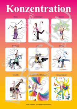 Kinder-Yoga-Poster Konzentration